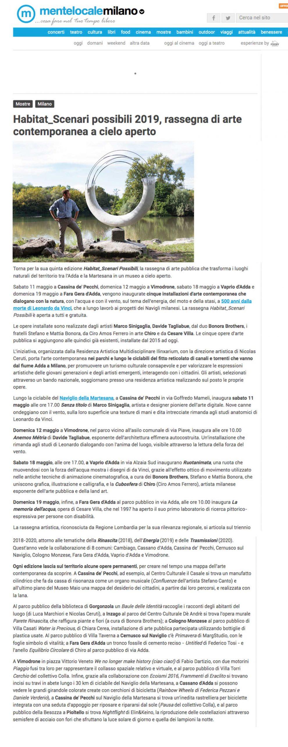 Articolo su Habitat presente in Mentelocale Milano