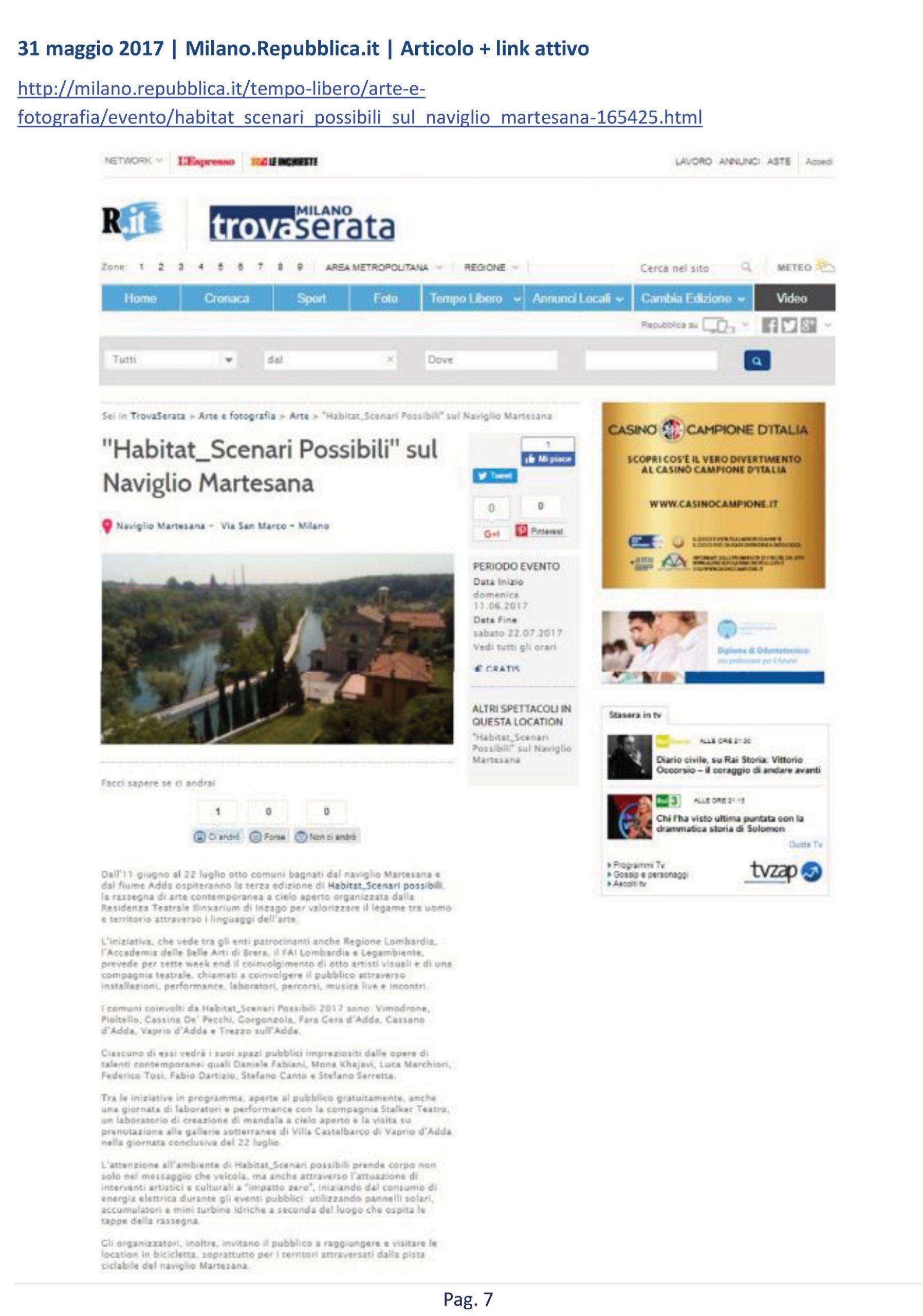 articolo su Habitat presente in La Repubblica