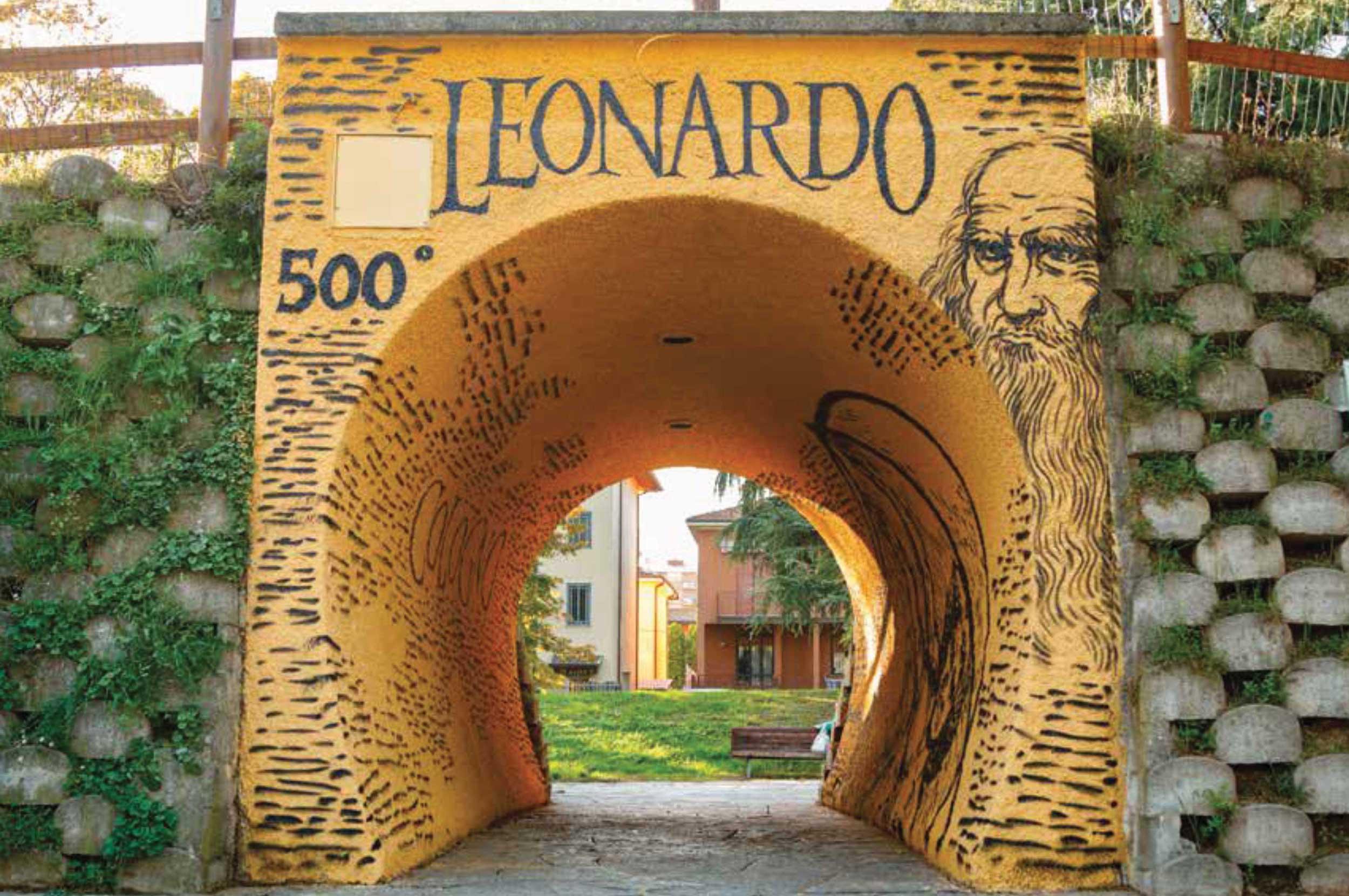 muro con murales di Leonardo da Vinci